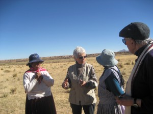 US Board member Donna talking with two women in Janko Saya.